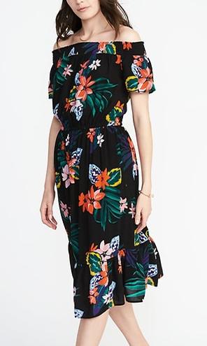 ce728ca775 Dress · Old Navy Waist Defined Off the Shoulder Crinkle Gauze Midi Dress for  ...