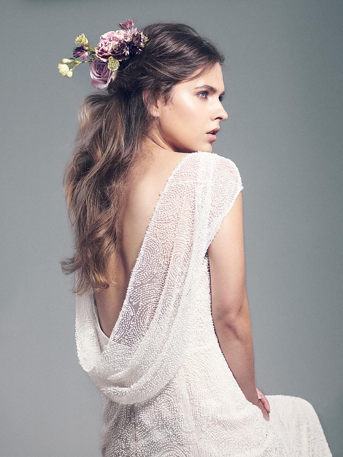 bride with half-up half-down hair