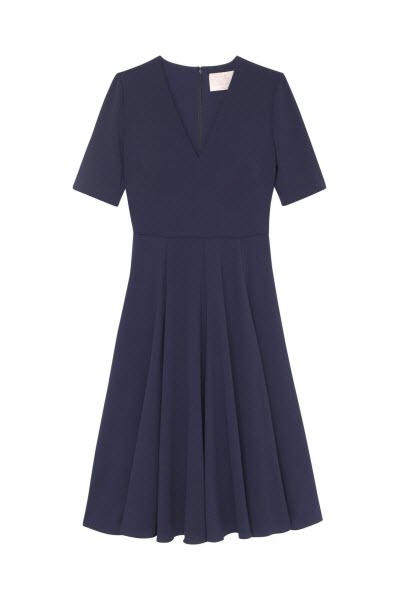 gal meets glam navy v neck dress