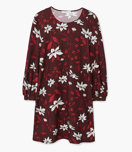 mango red floral dress