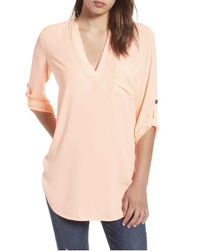 peach roll tab sleeve tunic
