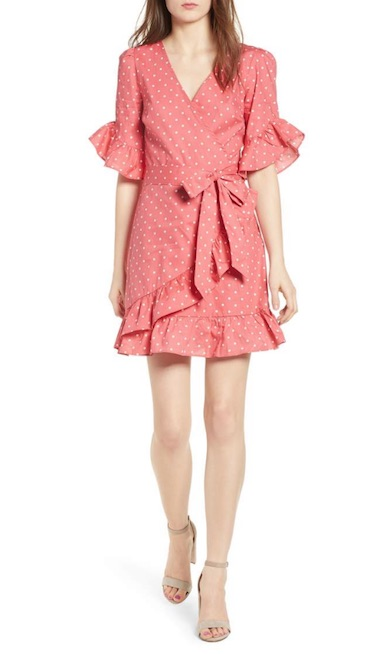 nordstrom pink polka dot dress