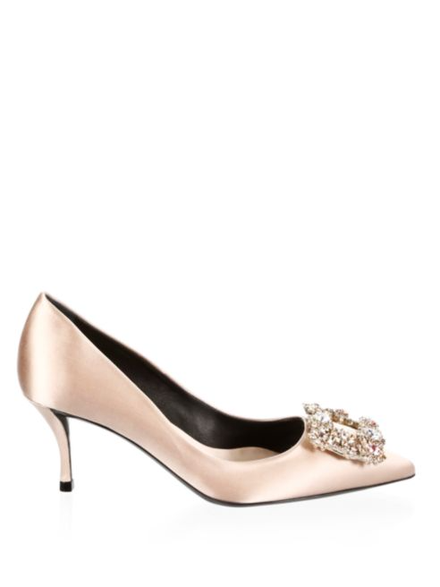 roger vivier satin pumps
