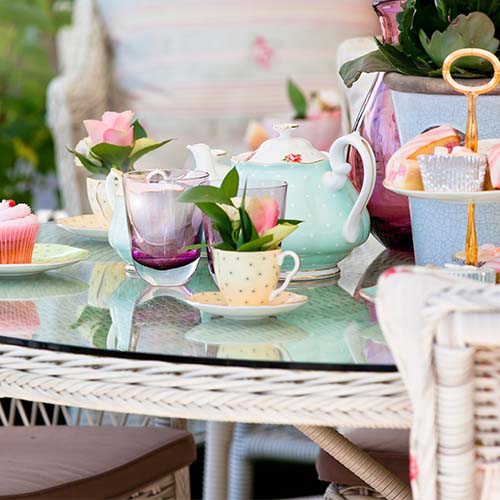 colorful tea party table set up