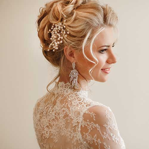 bride with up-do