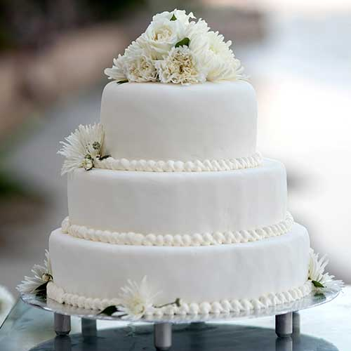 3-tier wedding cake with white frosting