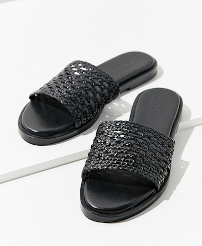 black basket weave slides