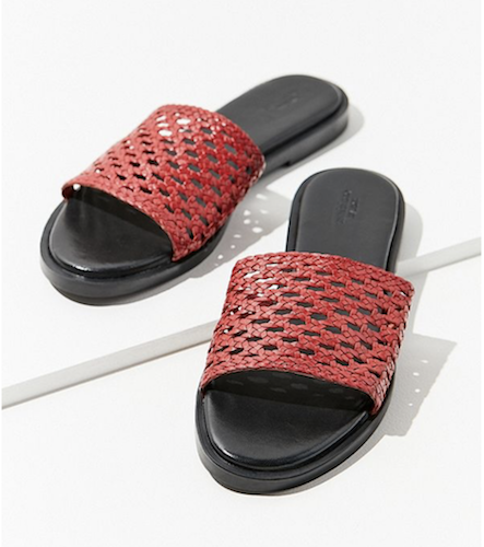 red basket weave slides
