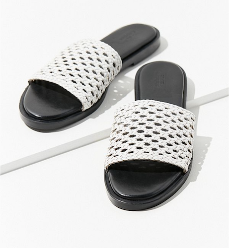 white basket weave slides