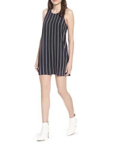 navy stripe shift dress