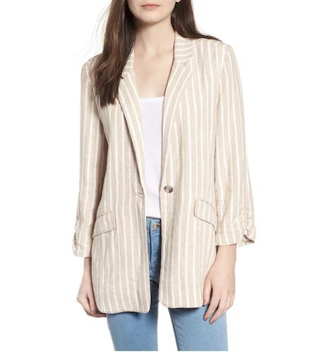 tan striped blazer