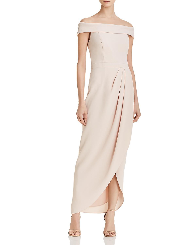 aqua off-the-shoulder draped crepe gown