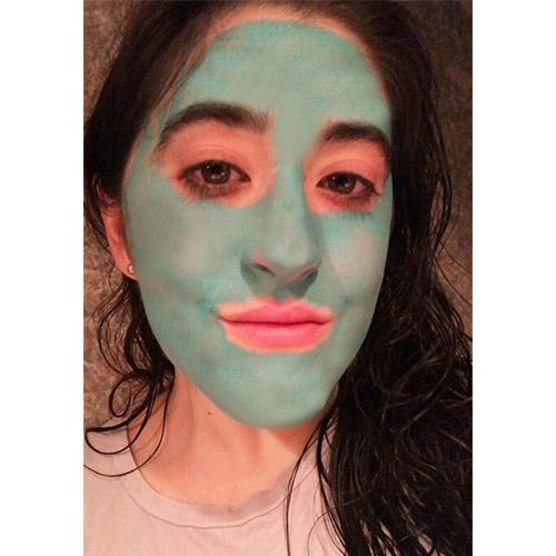 trying on olehenriksen blue mask