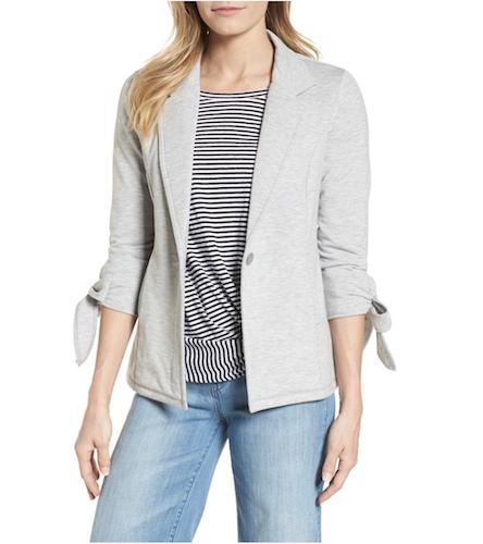 gray tie-knit blazer