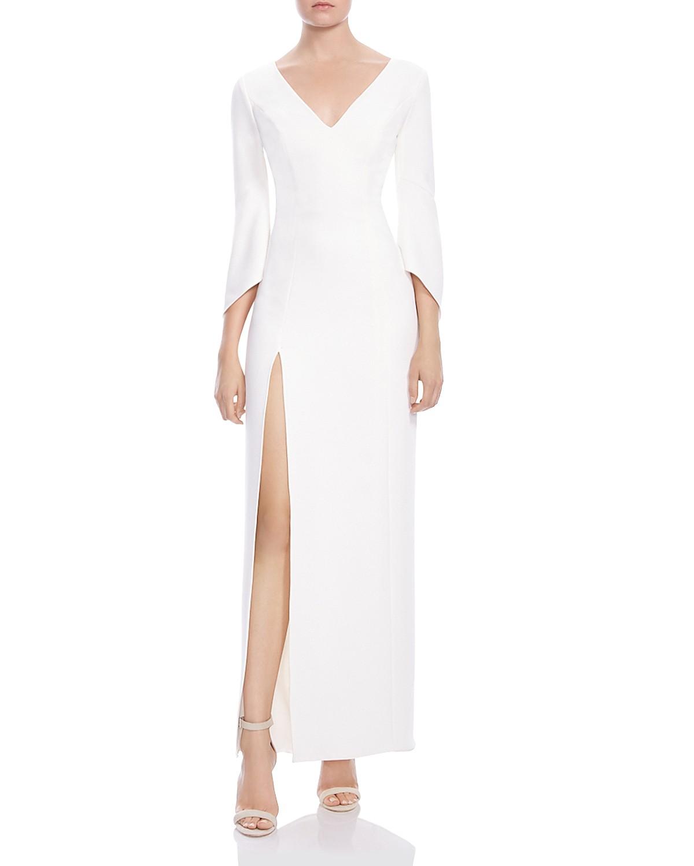 halston heritage flounce-sleeve crepe gown