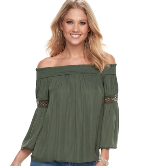 kohls spring off the shoulder top