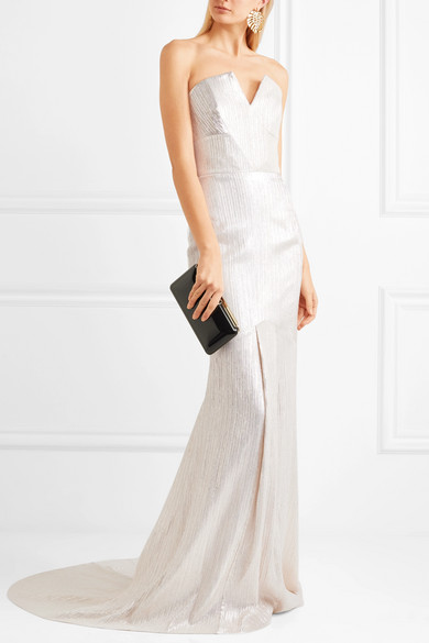 roland mouret brenner textured-lame gown