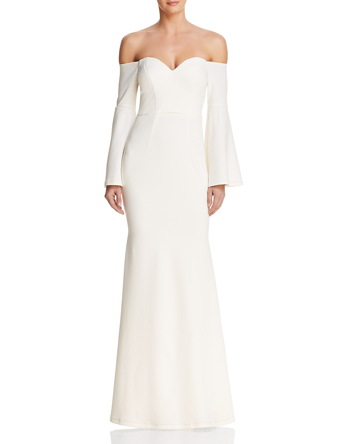 bariano off the shoulder cut-out gown