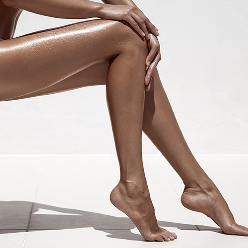 woman with tan legs