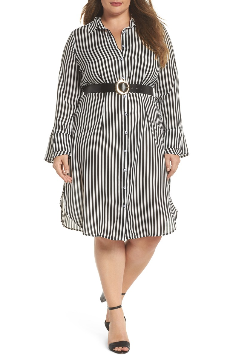 lost ink belted stripe shirtdress