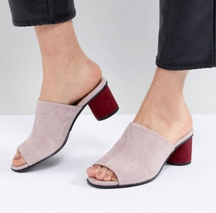 asos purple block heels