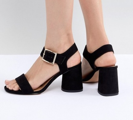 asos black block heel sandals