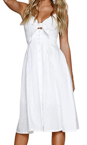 d9741f3a6f1 ECOWISH Womens Dresses Summer Tie Front V-Neck Spaghetti Strap Button Down  A-Line Backless Swing Midi Dress (from  6.99)