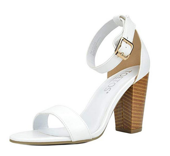 f5afa8c6042 TOETOS Women s Stella Open Toe Mid Chunky Heel Pump Sandals White Pu (from   15.99)