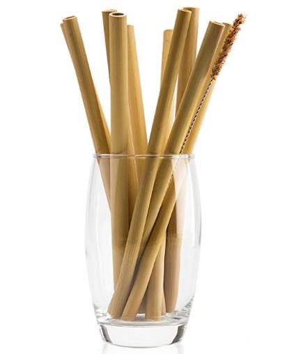 natural neo organic bamboo straws with coconut fiber brush