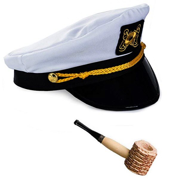 captains hat and corn pipe for hugh hefner costume