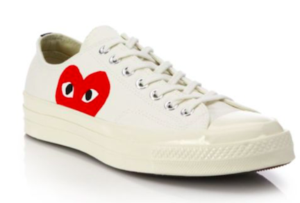 commes des garcons play peek-a-boo low-top canvas sneakers