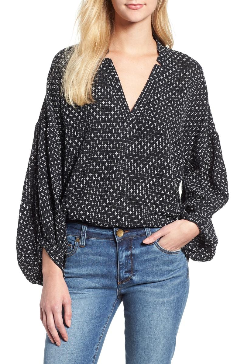 lou & grey pickstitched poet blouse