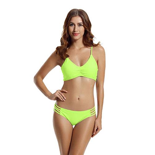 db8c5ed4b8c Zeraca Women's Strap Side Bottom Halter Racerback Bikini Bathing Suit  ($24.55)