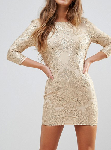 b6a3dc2e2bfa TFNC Petite Allover Sequin Dress With Scalloped Open Back ($38, down from  $95)