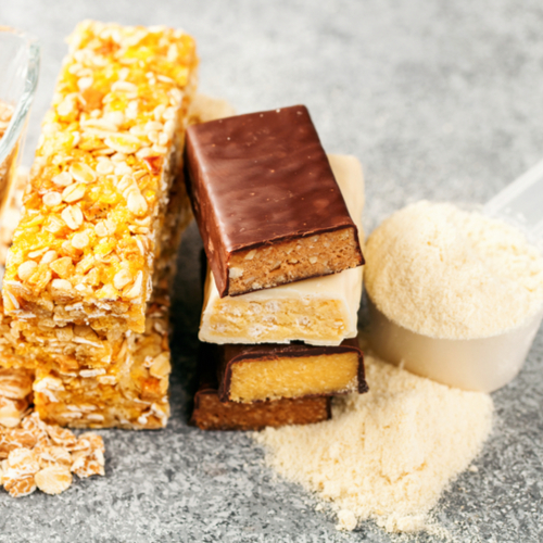 assorted protein bars and granola bars