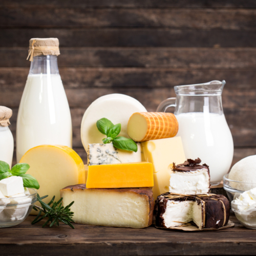 assorted dairy products on a table