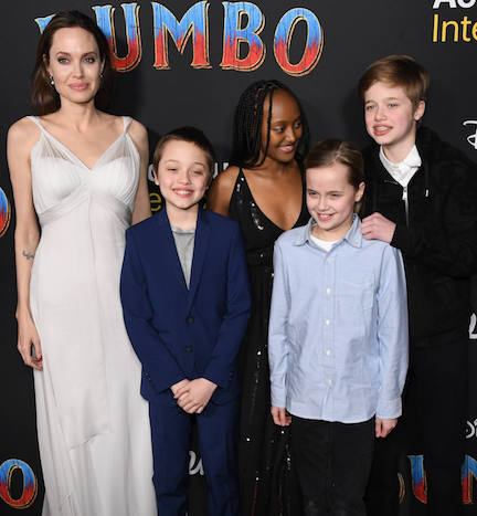 angelina jolie and her children at the dumbo premiere in los angeles