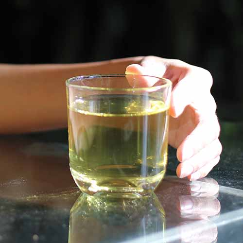 woman holding white tea in a clear mug