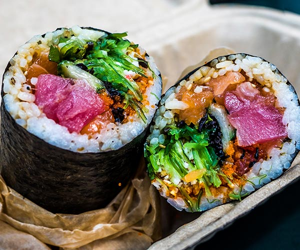 colorful sushi rolls on a plate