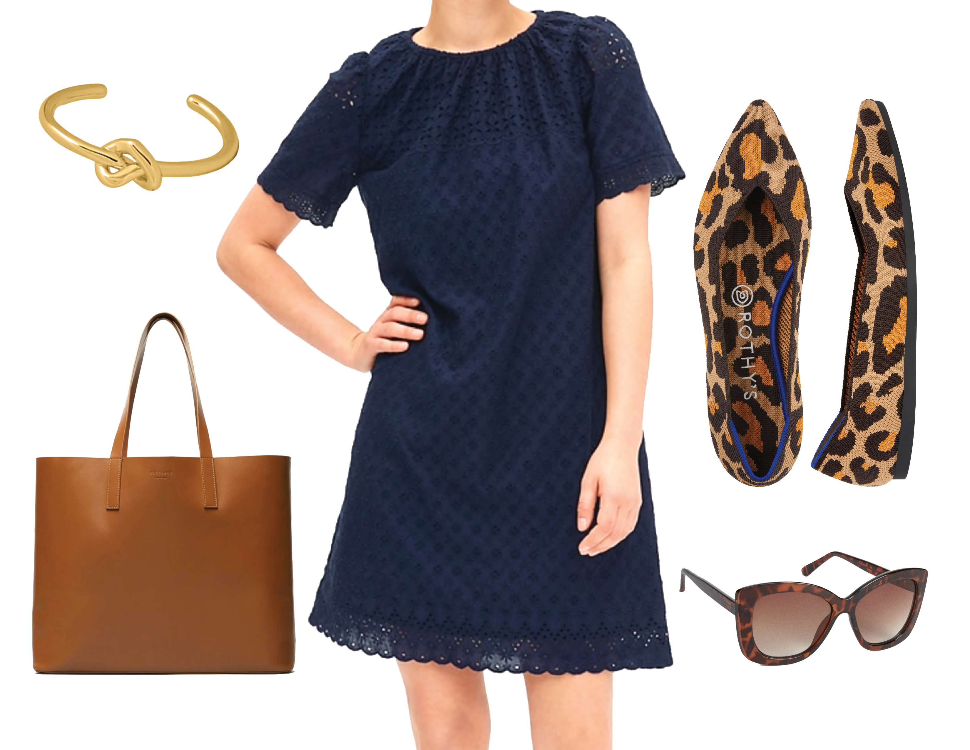 2f097b6c794c Eyelet Embroidered Shift Dress in Navy, $79.95 at Gap; Day Market Tote in  Cognac, $175 at Everlane; Cat Eye Sunglasses, $34.95 at Gap; The Point  Flats in ...