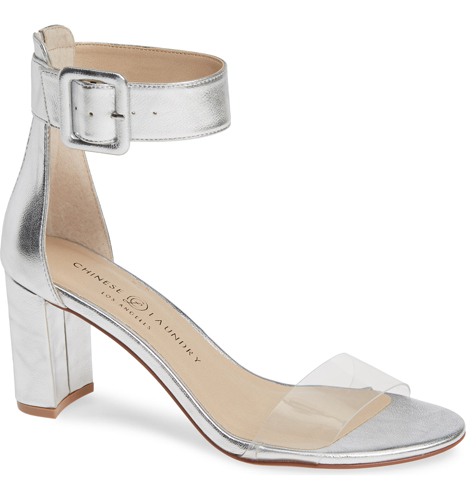 clear strap silver metallic ankle sandals