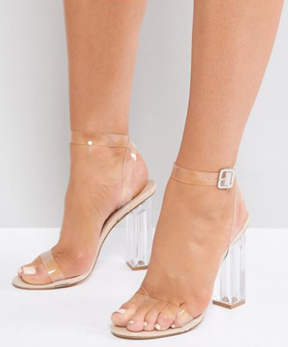 clear strap clear heel sandals
