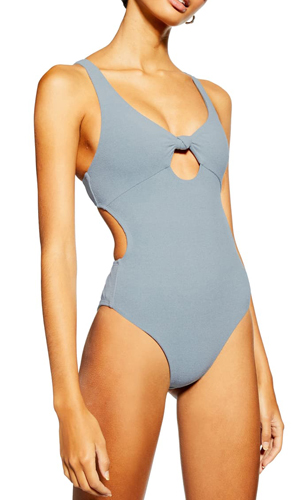 Knot Velour One Piece Swimsuit