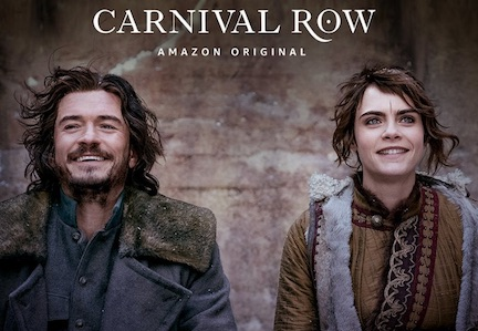 orlando bloom cara delevingne in carnival row in