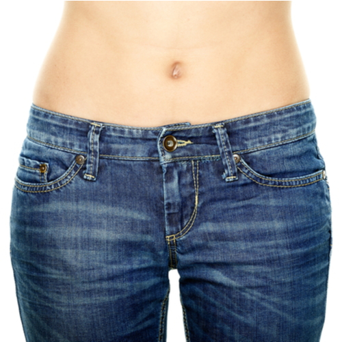 flat stomach in jeans