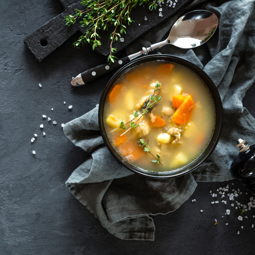 bowl of soup with carrots
