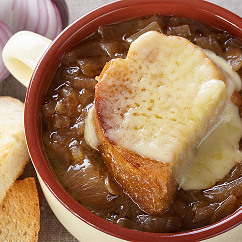 A bowl of French onion soup.