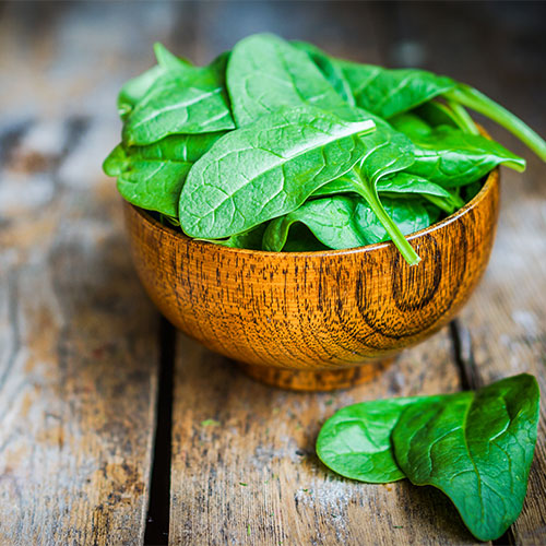 Fresh spinach in a wood bowl.