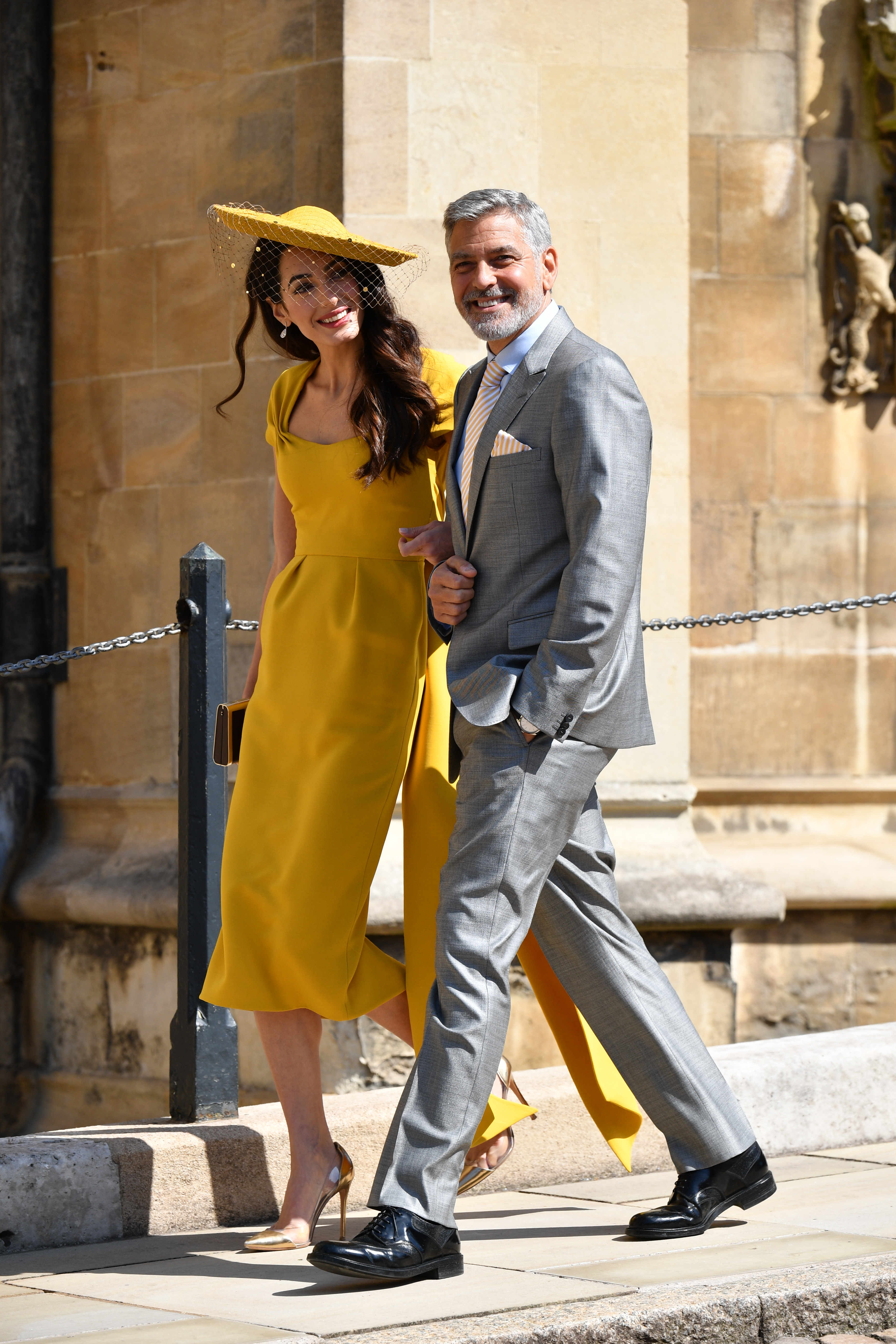 George and Amal Clooney arrive at Prince-Harry-and-Meghan-Markle's-wedding