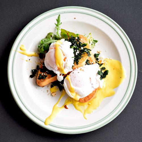 Poached eggs on a plate.